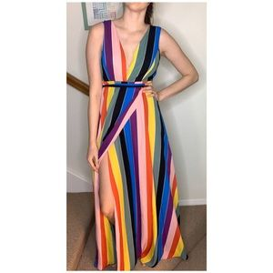 Aqua Luxe Rainbow Wrap Maxi Dress Size Small